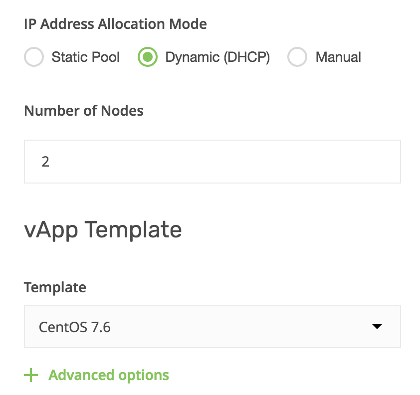 vCloud UP allocation mode